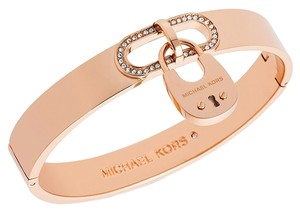 Michael Kors NWT MICHAEL KORS CITYSCAPE HARDWARE CRYSTAL ROSE GOLD PADLOCK BANGLE MKJ4612791