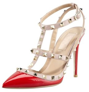 Valentino Stud Studded Rockstud Patent Leather Red Pumps