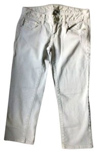 American Eagle Outfitters Skinny Crop Distressed Gray Capri/Cropped Denim-Light Wash