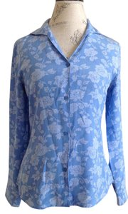 Jaclyn Smith Silk Silk Top Blue White Floral