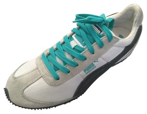 Puma White with dark grey and teal Athletic