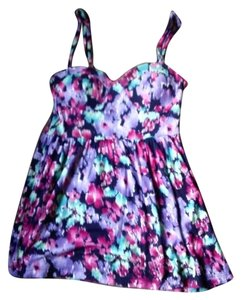 Kirra Pacsun Bra-top Camisole Babydoll Top Purple, Floral, Multi