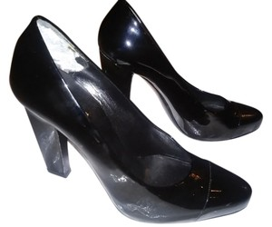 Prada Patent Leather Cap Toe Black Pumps