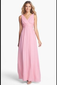 Donna Morgan Blush Chiffon Silk Julie Modern Bridesmaid/Mob Dress Size 12 (L)