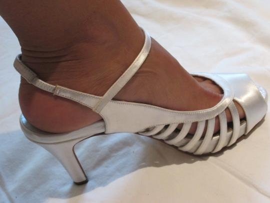 Dana Davis Slingback Open Toe Satin Wedding Adjustable Strap white Pumps