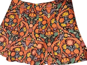 Zara Floral Multi Color Mini Orange Mini Skirt black/coral multi