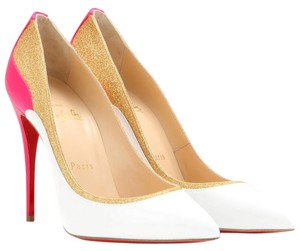 Christian Louboutin Gold Glitter Leather White, Gold, Pink Pumps