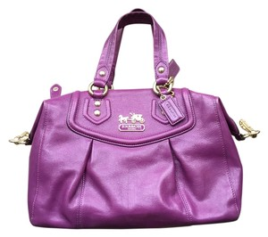 Coach Madison Leather Satchel in Purple