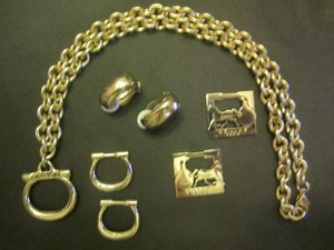 Céline CELINE Earrings 3 In 1 and Chain Necklace Vintage