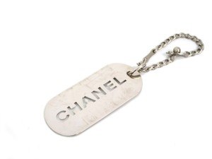 Chanel Auth CHANEL Logo Plate Charm/Key Holder Metal Silver (BF078087)