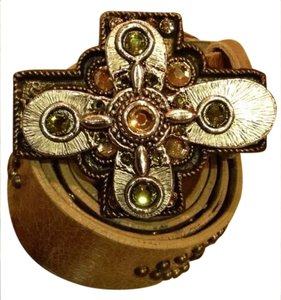 Leatherock Gold Leatherock Leather Swarovski Studded Belt