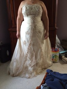 Antique Gold Lace and Tulle Traditional Wedding Dress Size 20 (Plus 1x)