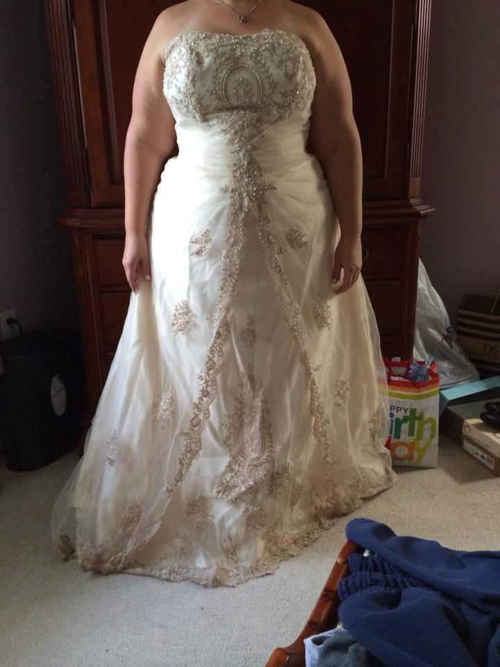 Antique Gold Lace And Tulle Traditional Wedding Dress Size 20 Plus 1x Tradesy