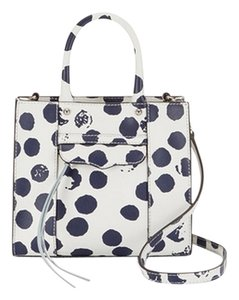 Rebecca Minkoff Mini Mab Crossbody White Polkadot Mini Mab Mab M.a.b Tote in White/Navy