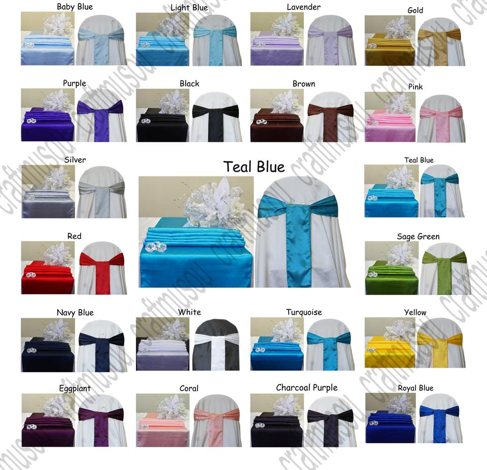 Multi Color 20 To Choose From Satin Table 5 Chair Sash Set Aisle Runner