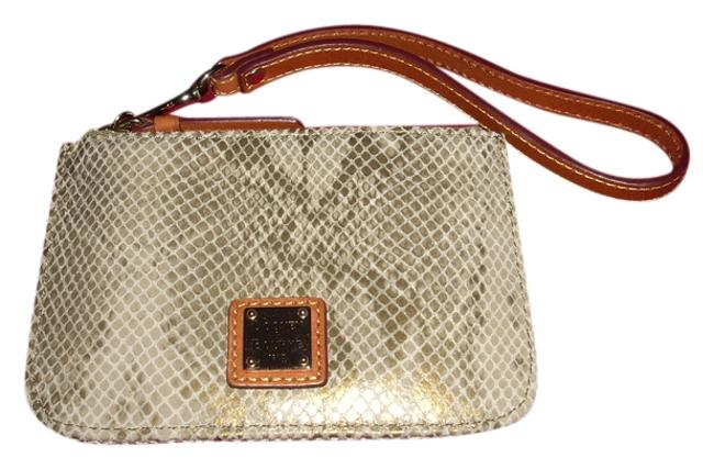 Item - Python Gold and Tan Python-embossed Leather Wristlet