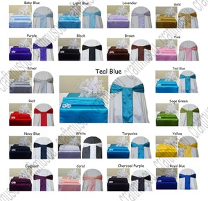 10 Satin Table Runner & 50 Chair Sash Set