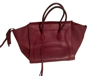 Céline Leather Business Tote in Burgundy
