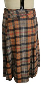 Piazza Sempione Box Pleat Midcalf Wool Skirt Grey/pumkin plaid