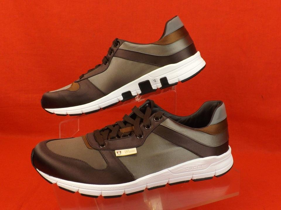 7c6aea7a7 Gucci Multi Color Gray Chocolate Satin Lace Up Running Sneakers 12 Sneakers