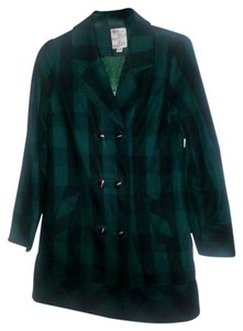 Tulle Plaid Wool Brass Buttons Pea Coat