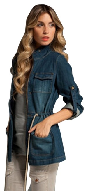 Item - Denim Long Cinch Waist Safari Jacket Size 2 (XS)