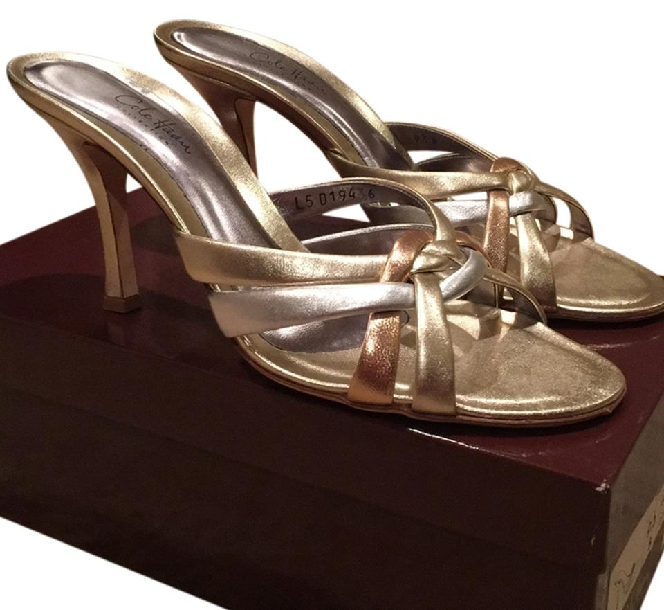 65087fa1731a Cole Haan Gold Silver Rose Gold Evelina Slide Sandals Size US 9.5 ...