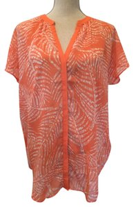 Banana Republic Top Orange and white
