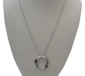 Tiffany & Co. Tiffany & Co Gehry Tube Ebony Wood & Silver Pendant 20 in. Chain Necklace