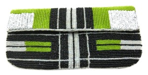 K.C. Malhan Evening Sequence Beaded Elegant lime green silver black Clutch