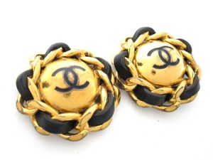 Chanel Auth CHANEL Circle Chain COCO Clip Earrings Metal/Leather Gold/Black (BF077465)