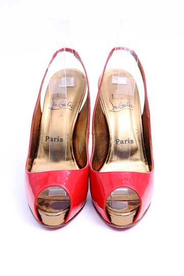 Christian Louboutin Patent Leather Slingbacks Gold Red Platforms