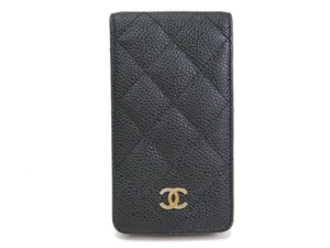 Chanel Auth CHANEL Phone Case for 4/4S Caviar Skin Black (BF078227)