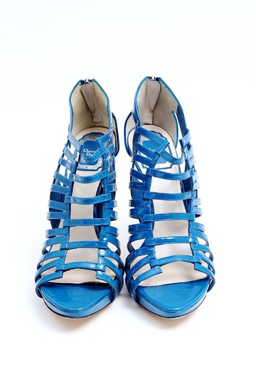 Dior Patent Leather Ankle Open Toe Platform Blue Boots