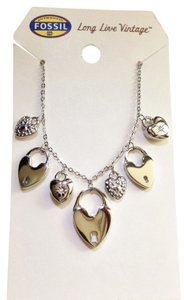 Fossil Heart Necklace Multi Charms Crystal Stainless Steel Hearts Silver Pave