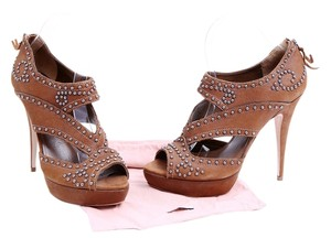 Miu Miu Leather Studded Sandals Ankle Boots Brown Platforms