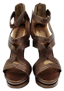 bebe Leather Platform Bronze Platforms