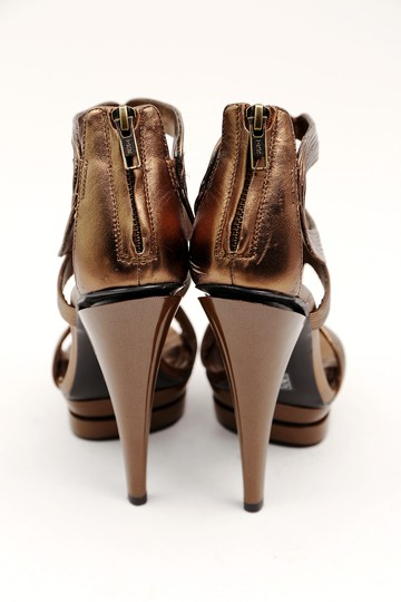 bebe Bronze Leather Open Toe Ankle Boot Brown Platforms