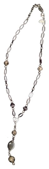 Lia Sophia Silver Link Necklace with Grey Beads