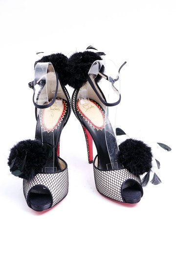 Christian Louboutin Red Soles Feathers Black Peep Toe Multicolor Platforms
