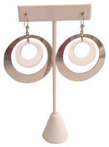Express Silver Color And Acrylic Dangling Discs Earrings