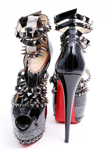 Christian Louboutin Red Soles Isolde 160 Stones Black Platforms