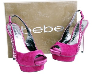 bebe Pumps Ankle Strap Studs Suede Purple Platforms