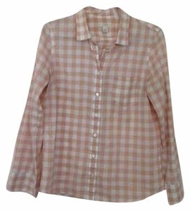 J.Crew Button Down Shirt Peach & White Checked