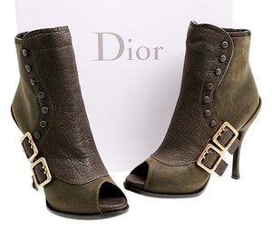 Dior Spy Peep Toe Ankle Goldtone Platform Forest Green Boots