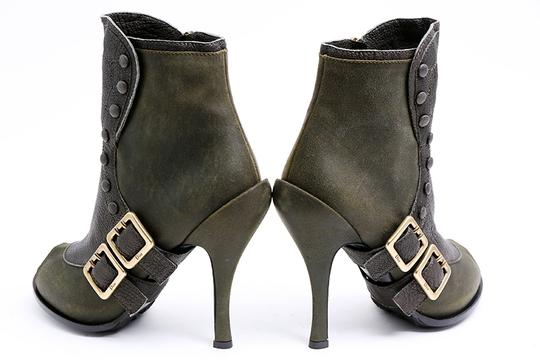 Dior Spy Peep Toe Ankle Forest Platform Green Boots