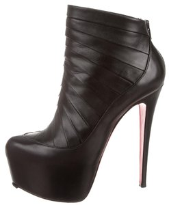 Christian Louboutin Leather Textured Embellished Amor Ankle Daffodile Platform Hidden Platform 38.5 8.5 New Stiletto Pointed Toe Red Sole Black Boots
