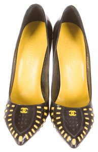 Chanel Patent Patent Leather Cut Out Cut-out Pointed Toe Stiletto New Perforated Print Interlocking Cc Logo Monogram 38.5 8.5 Black, Yellow Pumps