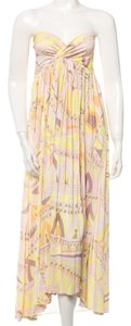Red, Yellow, Pink, White Maxi Dress by Emilio Pucci V-neck Multicolor Summer 3/4 Sleeve Longsleeve Silk Belted Logo Monogram Orange Black Red Multicolore New Abstract M L