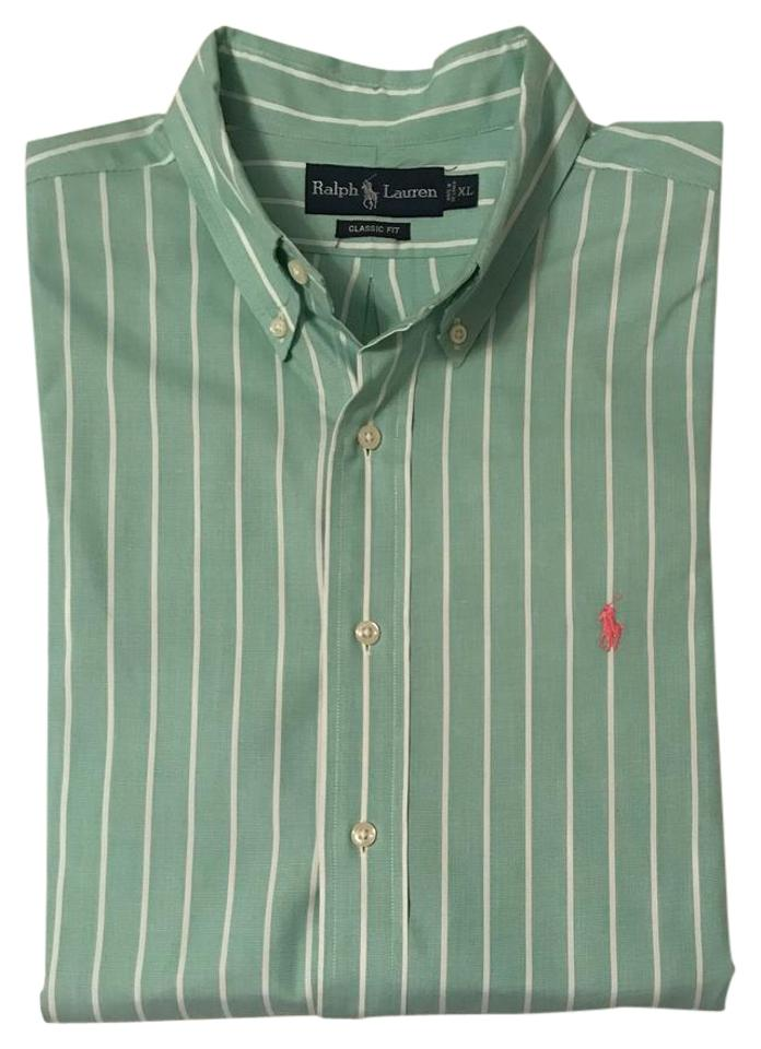 0c6dec2144 Ralph Lauren Green Mens Dress Shirt Button-down Top Size 16 (XL ...
